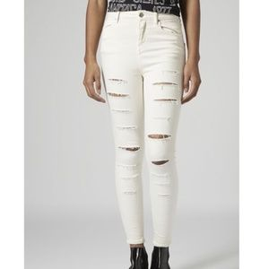 Topshop jamie super ripped winter white jeans 0159